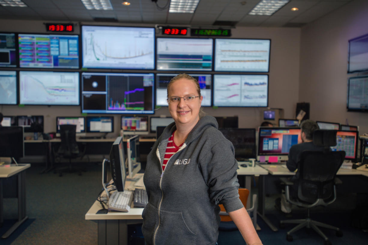 Jenne Driggers, former Evergreen High student in the Hanford LIGO lab near the Tri-Cities. KIM FETROW/Imageworks