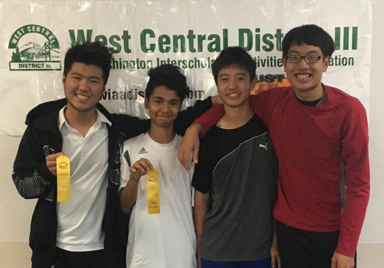 Mountain View doubles teams Josh Kim and Lu Abuizzah (left), and Vincent and Edmund Hsu.