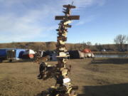 A mile-marker post created by activists near Cannon Ball, N.D., during protests against the Dakota Access pipeline.