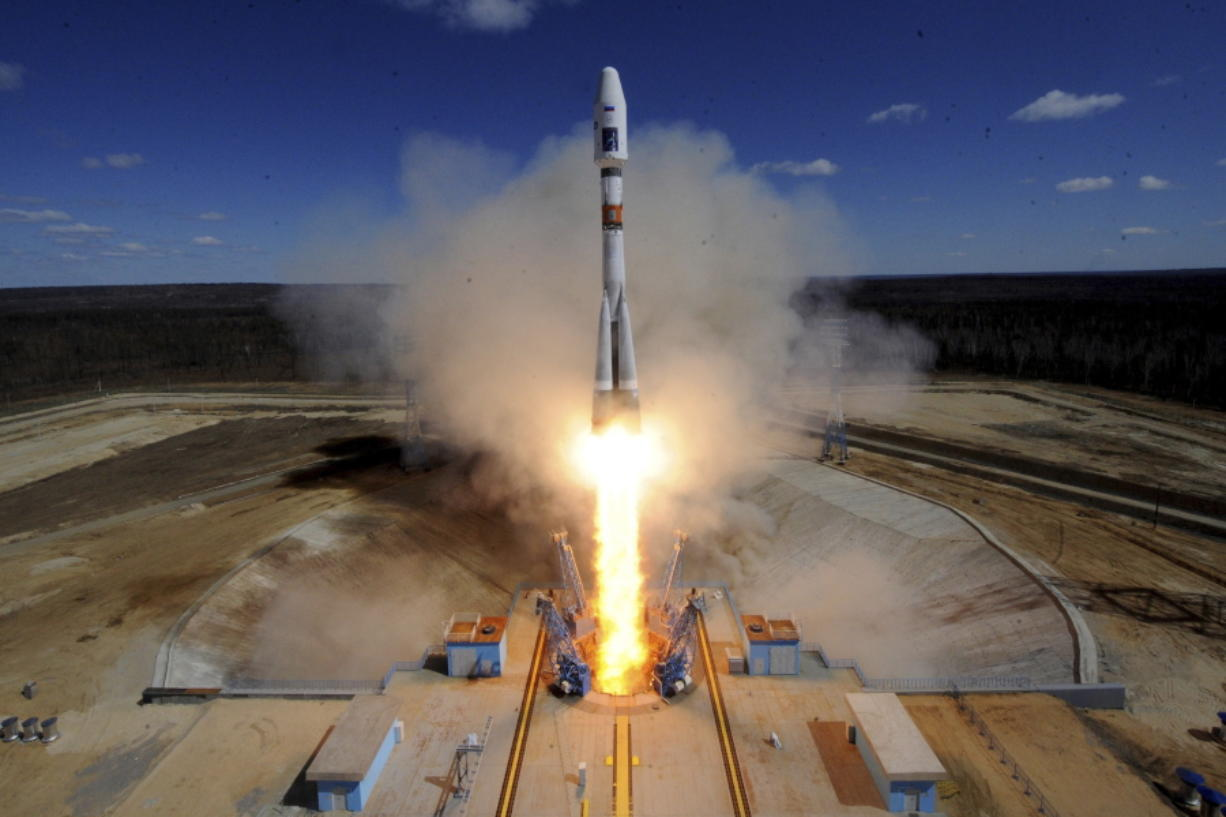 A Russian Soyuz 2.1a rocket carrying Lomonosov, Aist-2D and SamSat-218 satellites lifts off from the launch pad April 28, 2016, at the new Vostochny Cosmodrome outside the city of Uglegorsk, about 200 kilometers (125 miles) from the city of Blagoveshchensk in the far eastern Amur region, Russia. Six decades after Sputnik opened the space era, Russia has struggled to build up on its Soviet-era space achievements and space research now ranks very low among the Kremlin's priorities. (Kirill Kudryavtsev/Pool Photo via AP, File)