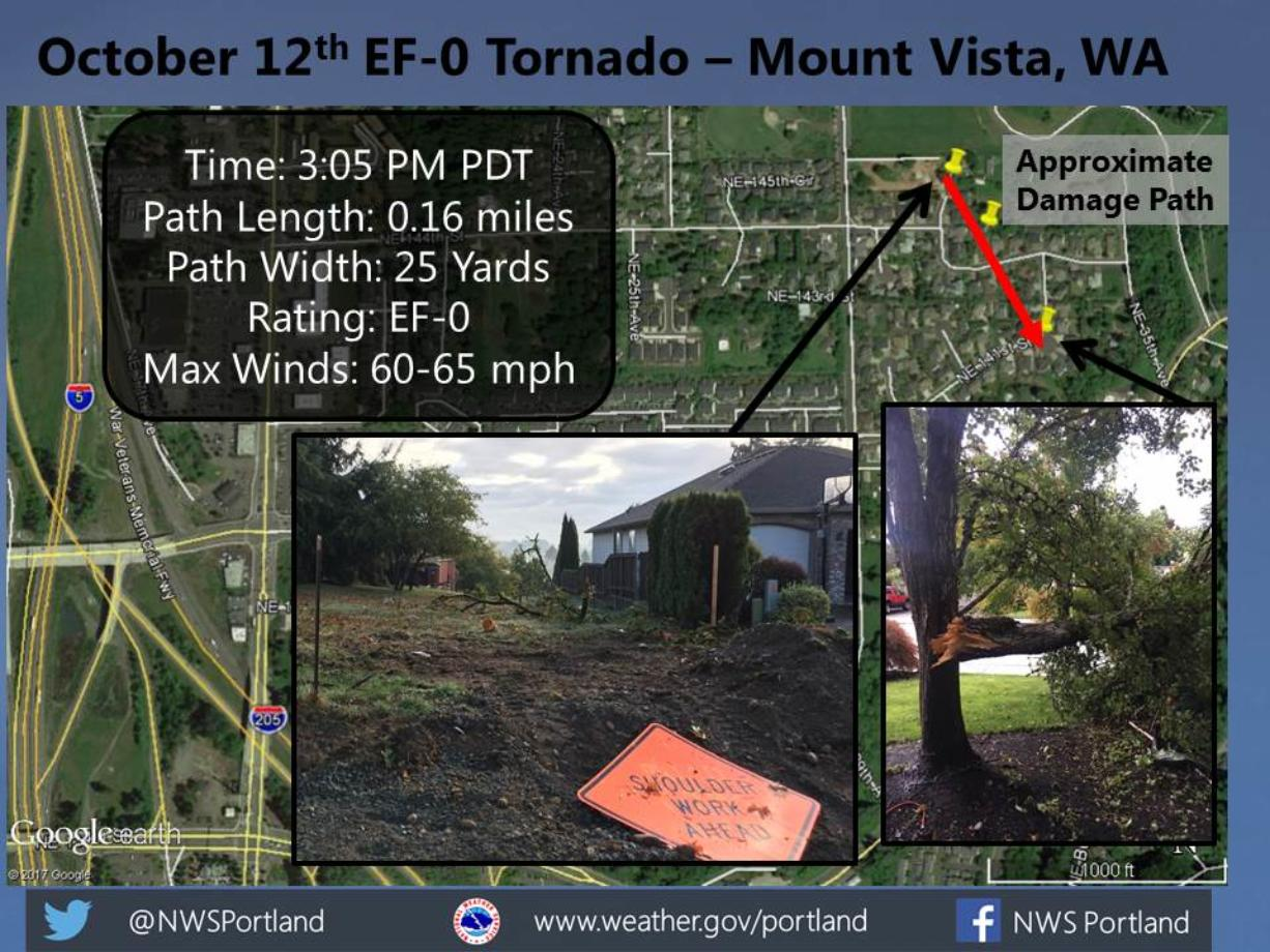 A National Weather Service bulletin shows the path of Thursday's EF-0 tornado in the Mount Vista neighborhood north of Vancouver. (National Weather Service)