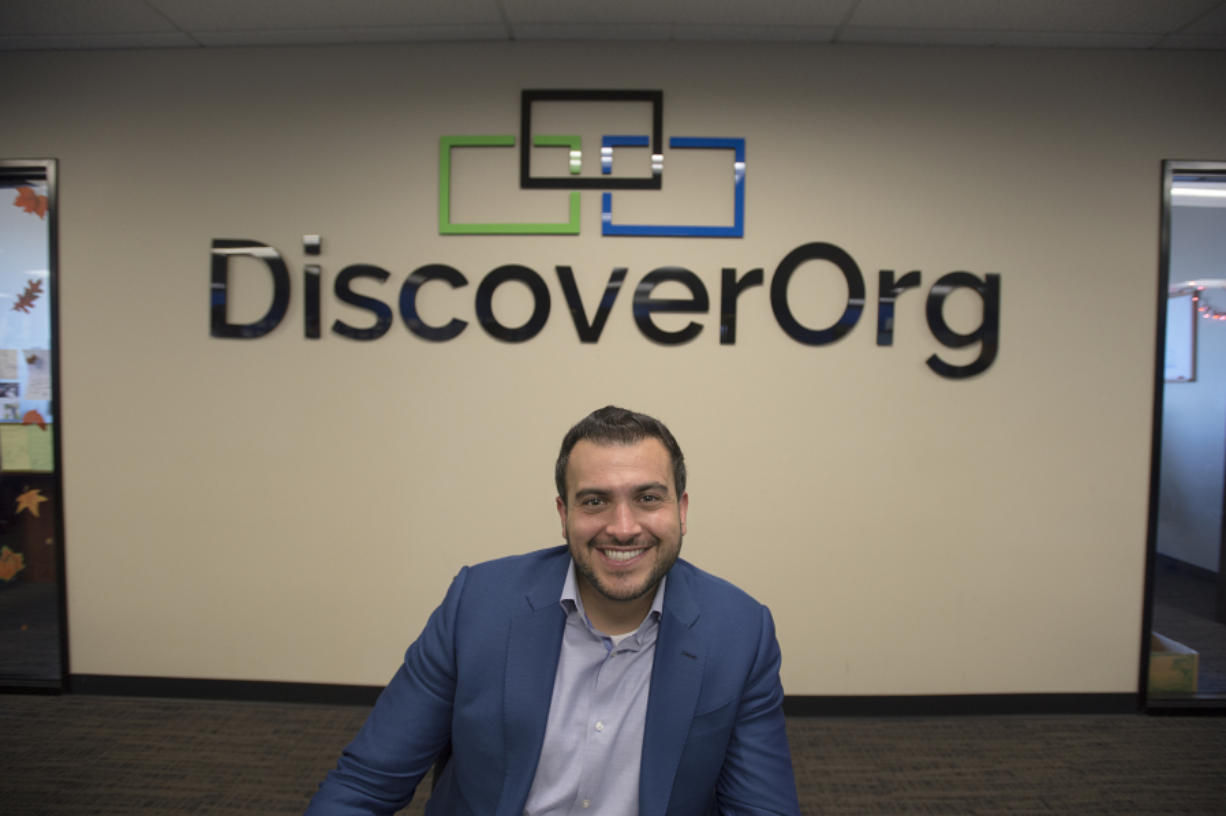 DiscoverOrg CEO Henry Schuck, whose company is one of the fastest growing in the county, is pictured in his downtown office. The CEO says he hopes to lead the company to go public in a few years.