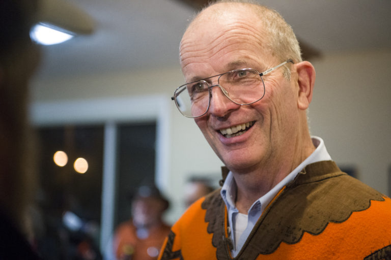 Don Orange receives congratulations from supporters at Vancouver Firefighters Local 452 in Fruit Valley, Tuesday November 7, 2017, after taking the lead for a seat on the Vancouver Port District Commission.