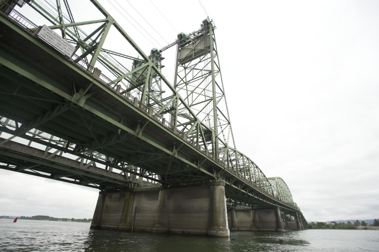 The Interstate 5 Bridge as seen from the Columbia River in July 2013.