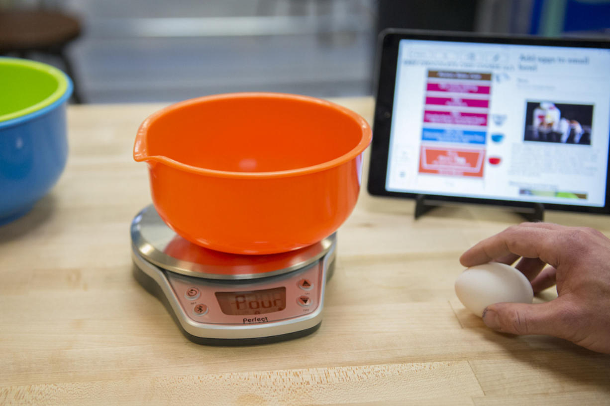 Matthew Barbee, head of recipe development for Perfect Co., prepares to make chocolate chip cookies using Perfect Co.'s technology. That technology is the basis of a patent infringement lawsuit that Perfect Co. filed against a competitor this week.