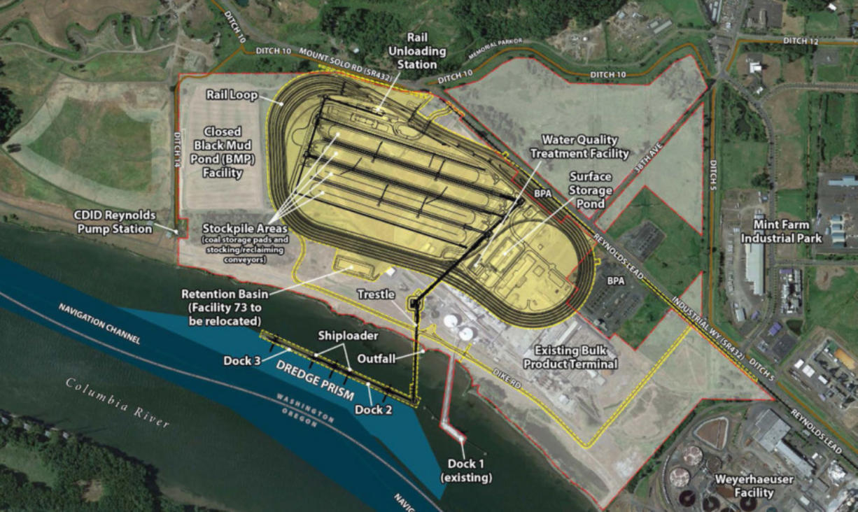 Courtesy photo This drawing shows the layout of rail lines and the new dock Millennium Bulk Terminals would build if its gets approval of its $680 million coal dock.