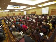 The Vancouver City Council hears public testimony June 2, 2014, on a resolution to oppose the Tesoro-Savage oil terminal during a meeting at the Hilton Vancouver Washington. After a seven-hour meeting went past midnight, the council voted 5-2 to oppose the project.