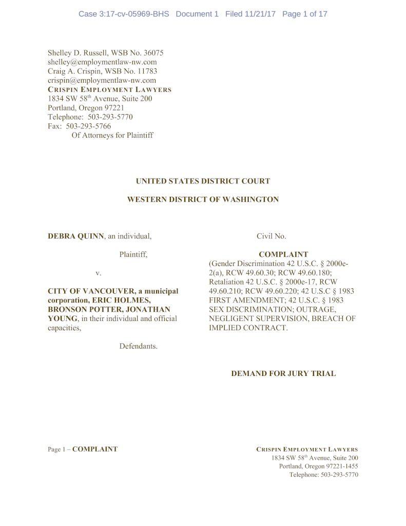 Quinn files gender discrimination lawsuit against city of