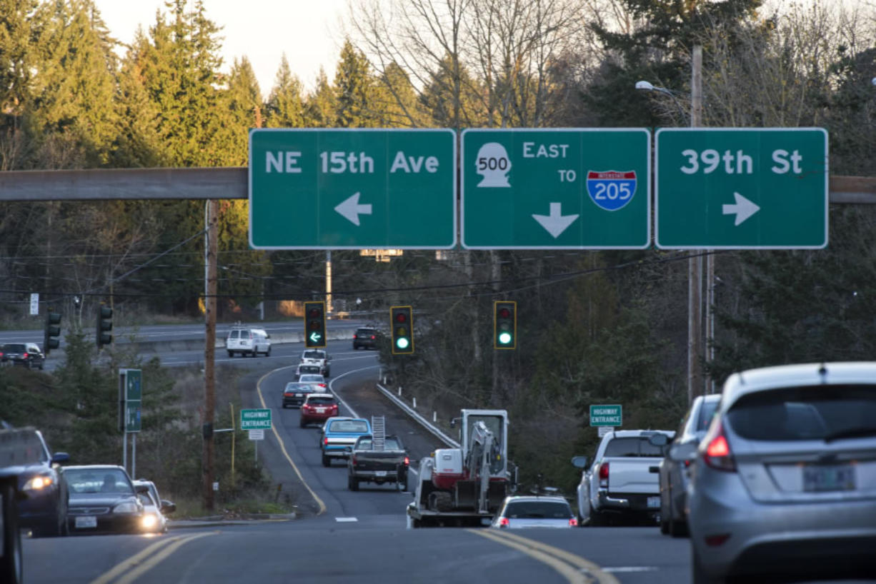 Drivers merge off and on state Highway 500 and Interstate 5 via East 39th Street last week. Unlike most interchanges, which directly connect one highway to another, the one at Highway 500 partially requires the use of surface streets, which can be an annoyance for some.