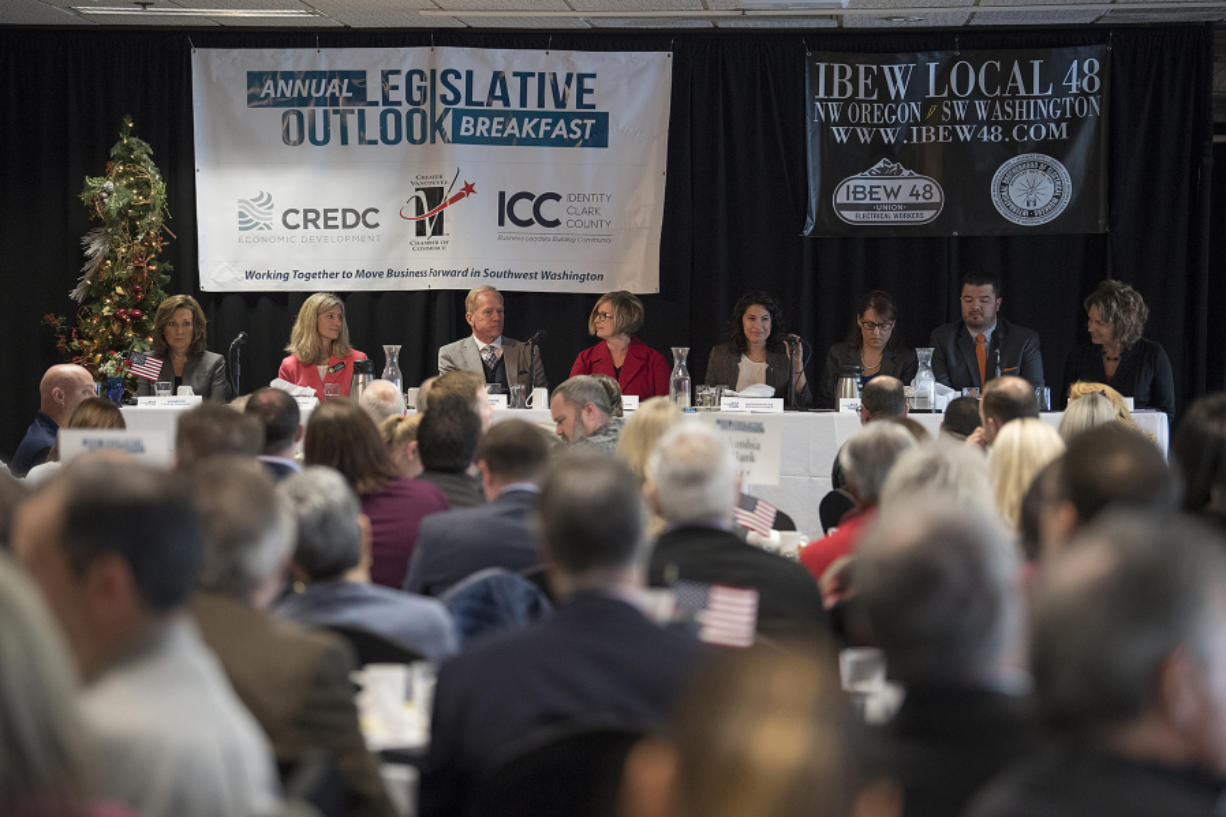 Local lawmakers gather Friday morning during the annual Legislative Outlook Breakfast at WareHouse '23 in Vancouver.