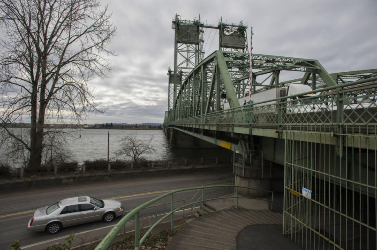 A motorist passes the northbound span of the Interstate 5 Bridge in February.
