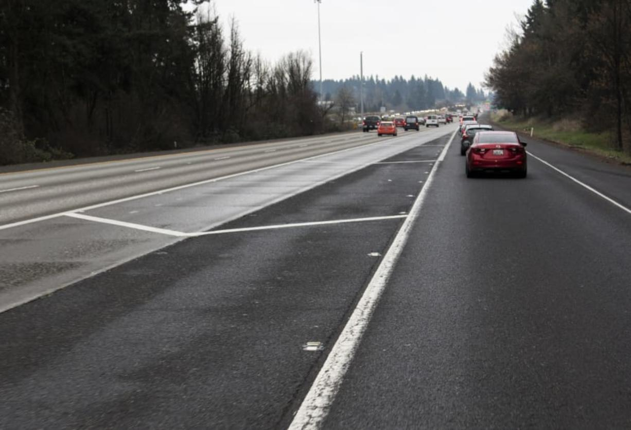 The painted median between state Highway 500 and Interstate 205 in Vancouver. Last summer, the Washington State Department of Transportation took a lane out and changed this interchange to improve traffic flows onto the Interstate. But some southbound drivers lost quick route to the Mill Plain exit during heavy traffic.
