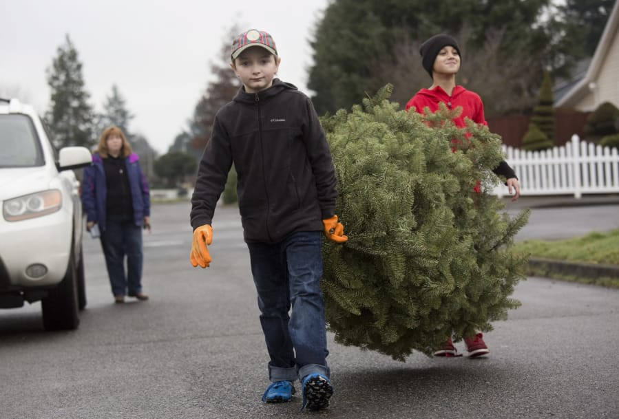 alex dubal center and kenny brownsilva right collect a christmas tree on - Boy Scout Christmas Trees