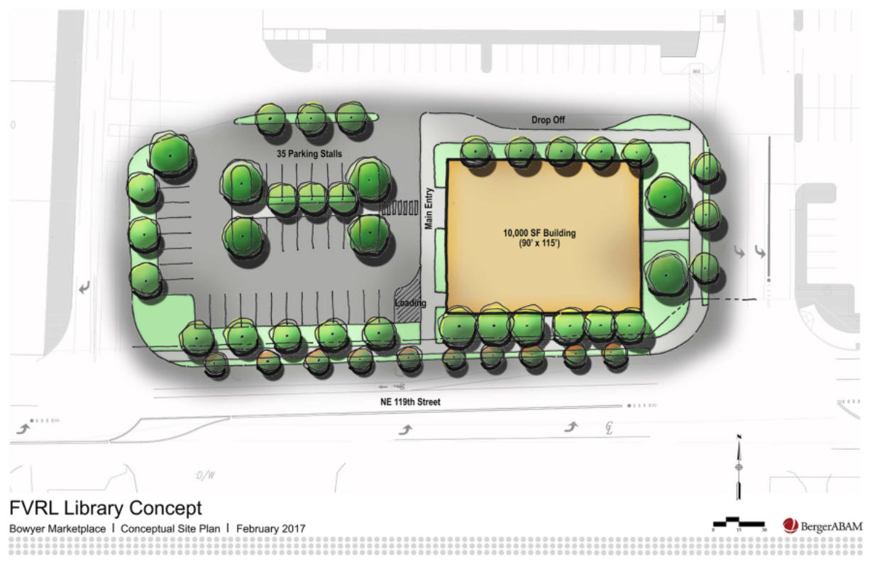 Concept of a future library at Brush Prairie. (Fort Vancouver Regional Library District/Berger/ABAM)