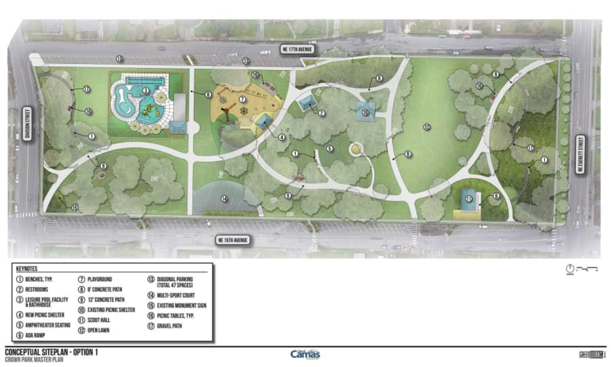 Option one for a new conceptual design at Crown Park in Camas, featuring a new outdoor leisure pool, additional parking spots and interactive playground.