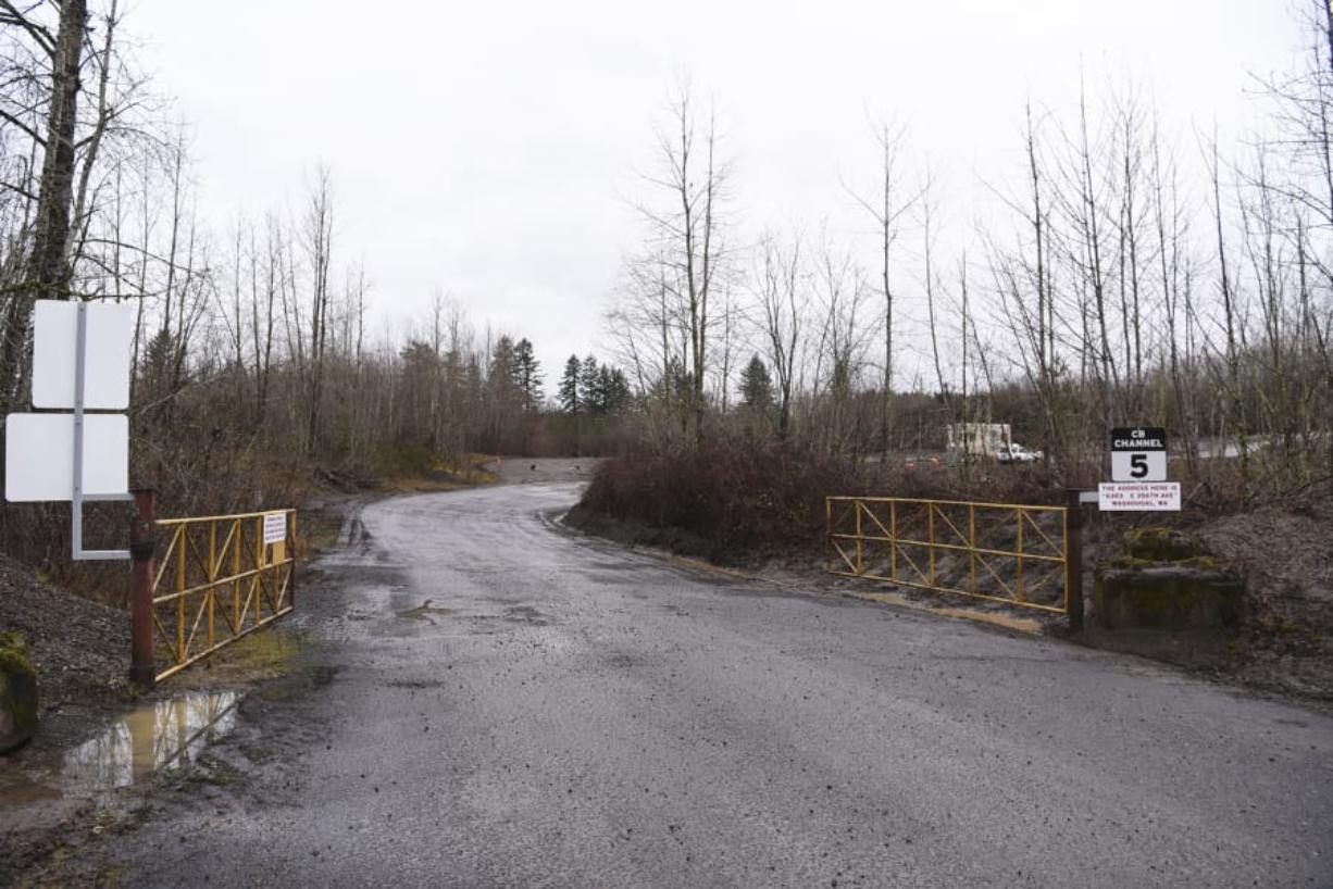 The entrance to a gravel pit owned by the Zimmerly family outside of Washougal that's been the cause of neighbors' headaches is seen in February 2018.