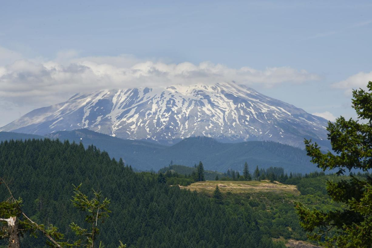 Mount St. Helens as seen from the camp chapel at Lake Merwin Campers Hideaway in Amboy in July. (Ariane Kunze/The Columbian files)