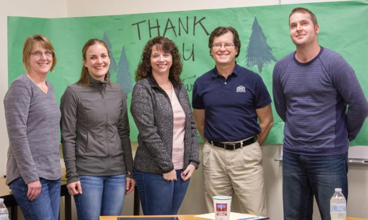 Woodland: Woodland Public Schools board members, from left, Janice Watts, Sarah Stuart, Lesa Beuscher, Steve Madsen and Matt Donald were honored at their Jan. 22 meeting as part of School Board Recognition Month.