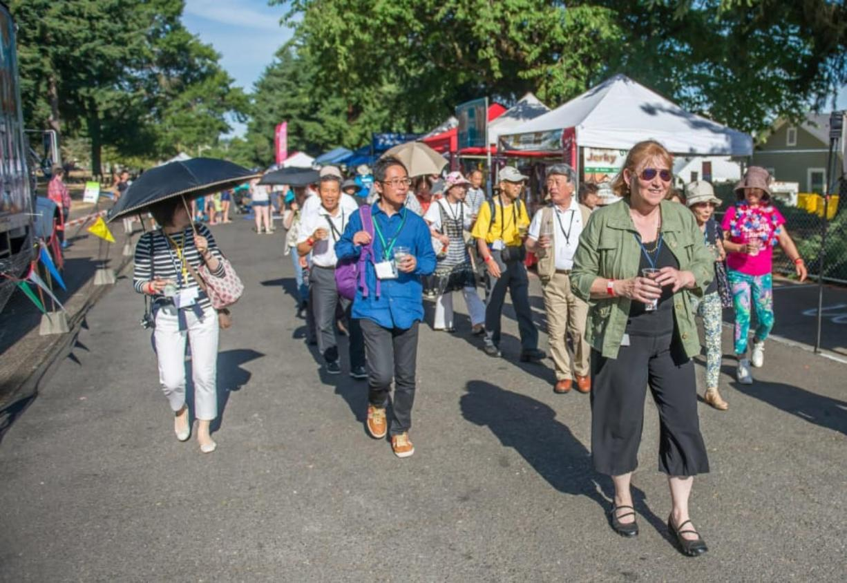 The Joyo, Japan delegation enjoys Fourth of July festivities at the Fort Vancouver National Historic Site in 2015 led by Anne McEnerny-Ogle. McEnerny-Ogle has served as a Sister City liaison since before her election as mayor.