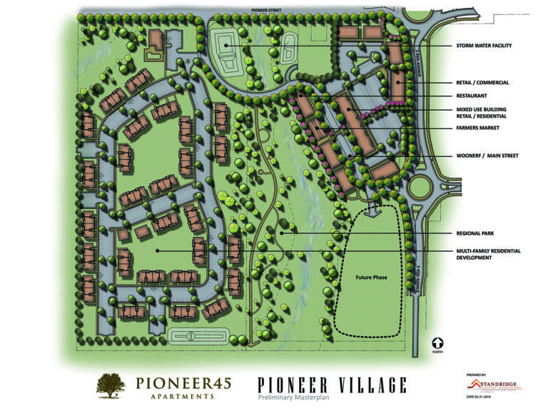 An illustration of how the 40-acre mixed-use project coming to Ridgefield could look.