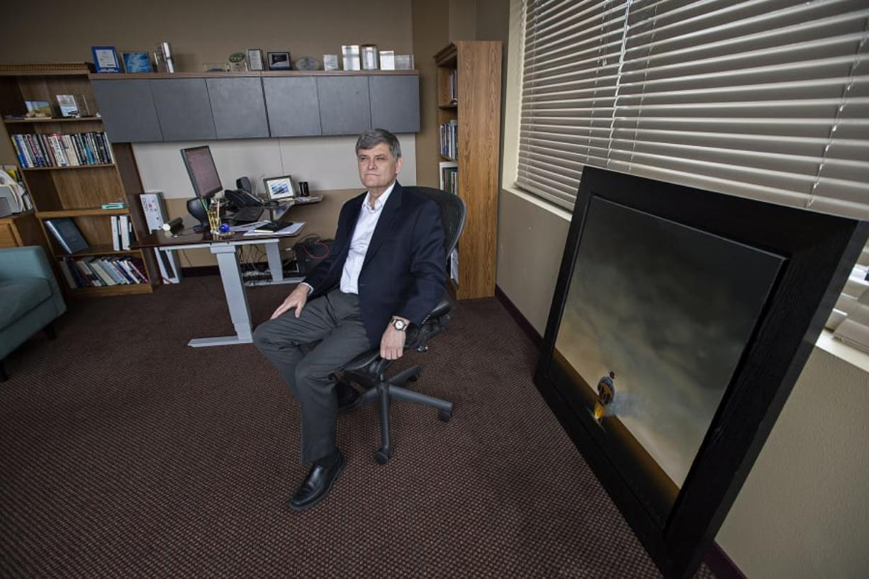 Columbia Ventures Corporation CEO Ken Peterson, seen in his Vancouver office, has invested more than $40 million in Washington in the last year. An investment in augmented reality company RealWear could revitalize the local tech scene.