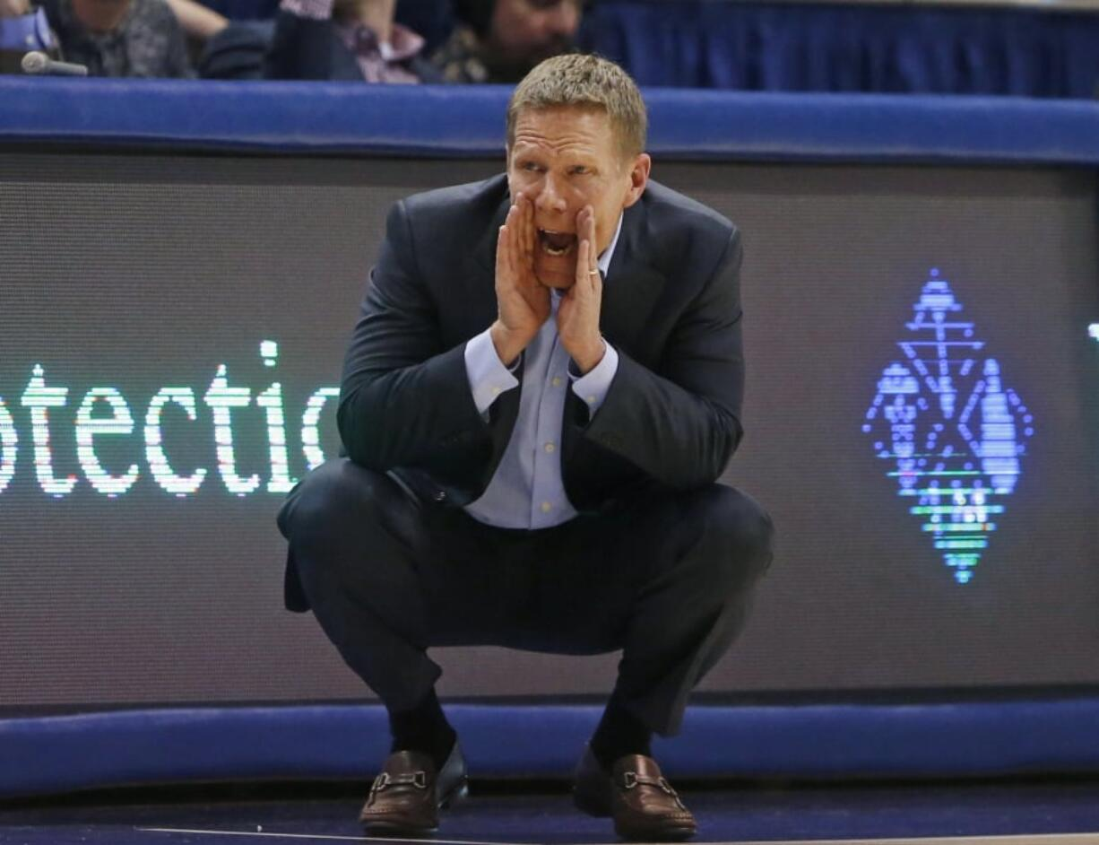 Gonzaga coach Mark Few shouts to his team during the second half of an NCAA college basketball game against BYU on Saturday, Feb. 24, 2018, in Provo, Utah. Gonzaga won 79-65.