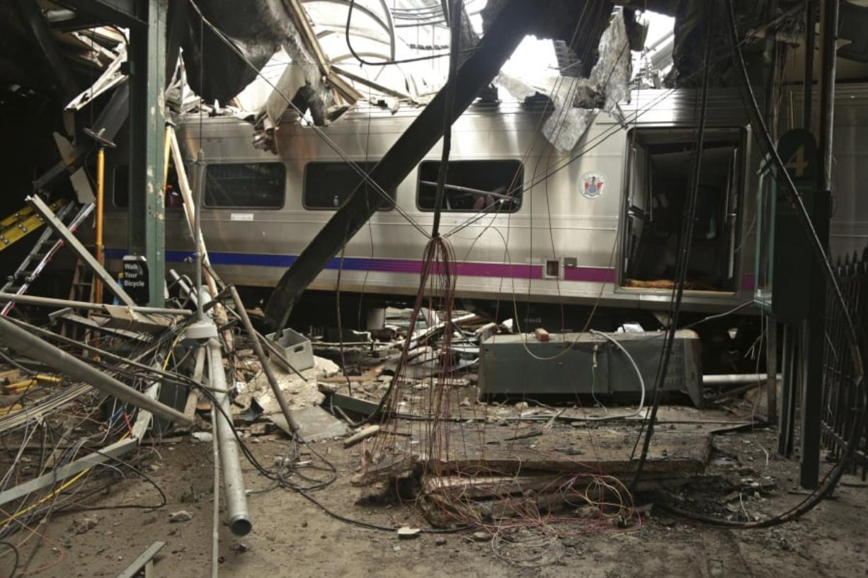 Damage done to the Hoboken Terminal in Hoboken, N.J., after a commuter train crash.