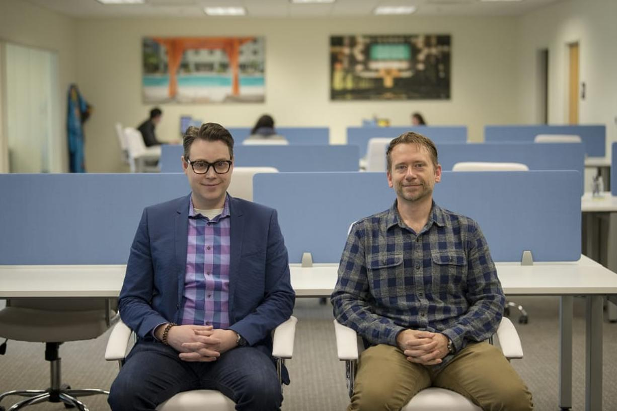 GTMA co-founders Joshua Swanson, left, and Jason Naumann pause for a photo at their new Vancouver headquarters. The creative agency officially moved from Los Angeles this month.