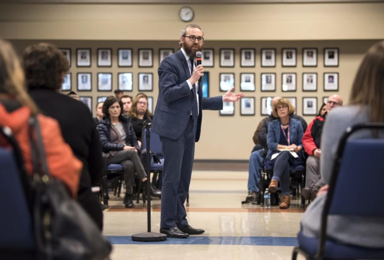 """Rabbi Shmulik Greenberg of Chabad Jewish Center speaks about spreading kindness Thursday afternoon during a community forum hosted by the Clark College Office of Diversity and Equity. The forum addressed anti-Semitic posters that were recently found on campus as well as other race-based incidents. """"I would like to share with you the Jewish perspective,"""" he said."""