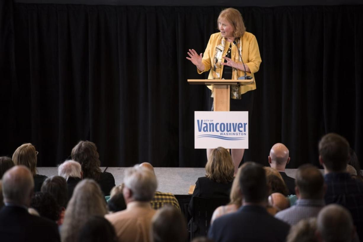 Mayor Anne McEnerny-Ogle highlights progress on the Vancouver waterfront during her first State of the City address at City Hall Thursday. Alisha Jucevic/ The Columbian
