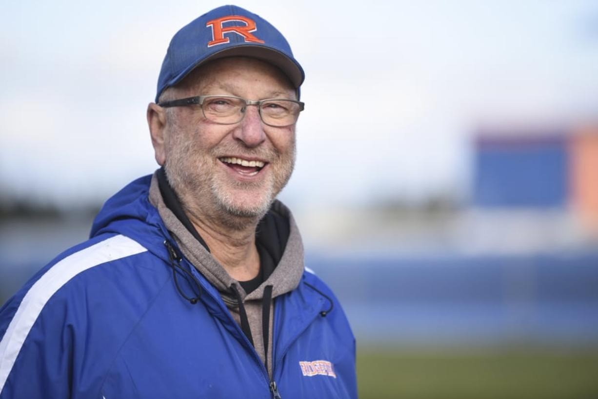 Last winter, Ridgefield softball coach Dusty Anchors learned that he had terminal heart disease and likely has just a few months to live. That hasn't stopped him from his passion of coaching softball.  (Ariane Kunze/The Columbian)
