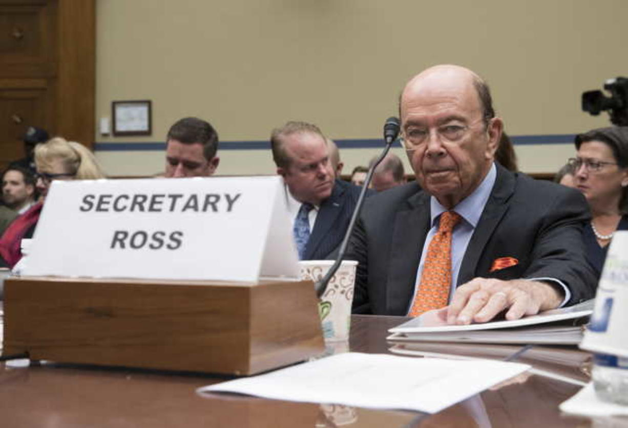 In this Oct. 12, 2017, file photo, Commerce Secretary Wilbur Ross appears before the House Committee on Oversight and Government Reform to discuss preparing for the 2020 Census, on Capitol Hill in Washington. The Commerce Department says the 2020 U.S. Census will include a question about citizenship status. Commerce says in a press release issued Monday night that the citizenship data will help the Justice Department enforce the Voting Rights Act, which protects minority voting rights. But opponents say the question will discourage immigrants from responding to the census. (AP Photo/J. Scott Applewhite)
