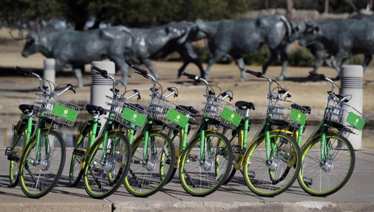 In this Feb. 8, 2018 photo, shared bikes ready to be used are lined up on a sidewalk by a popular tourist destination in Dallas. Shared bikes that can be left wherever the rider ends up are helping more people get access to the mode of transportation that reduces car traffic and increases exercise. But the dockless bikes are also producing some chaos with discarded bikes cluttering public spaces, blocking sidewalks and even placed in trees and lakes. Over the last year, startup companies have brought the bikes that don't require docking stations into city after city in the U.S. (AP Photo/Tony Gutierrez)