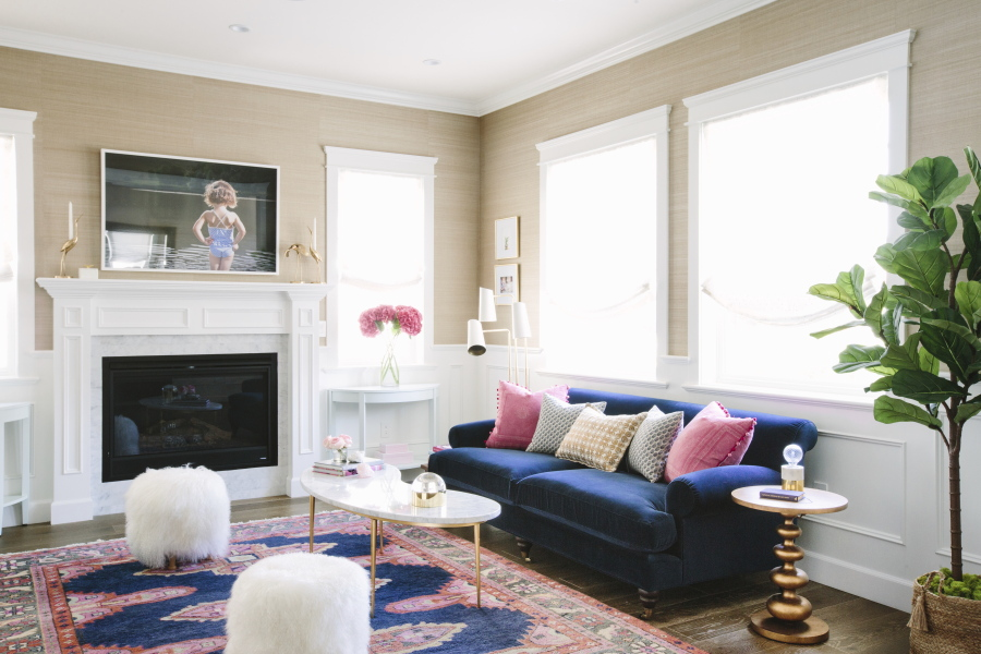In This Living Room Designed By Interior Designer McClendon The Richness Of  A Royal Blue Sofa