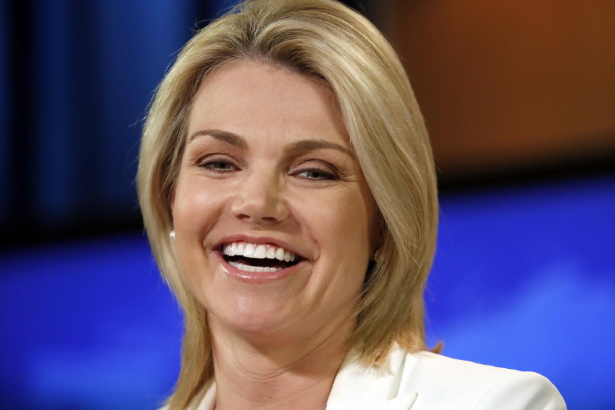 State Department spokeswoman Heather Nauert speaks Aug. 9 during a briefing at the State Department in Washington. President Donald Trump's favorite TV network is increasingly serving as a West Wing casting couch, as he remakes his administration with camera-ready personalities. Another faces on Trump's team: Nauert, a former Fox News anchor.