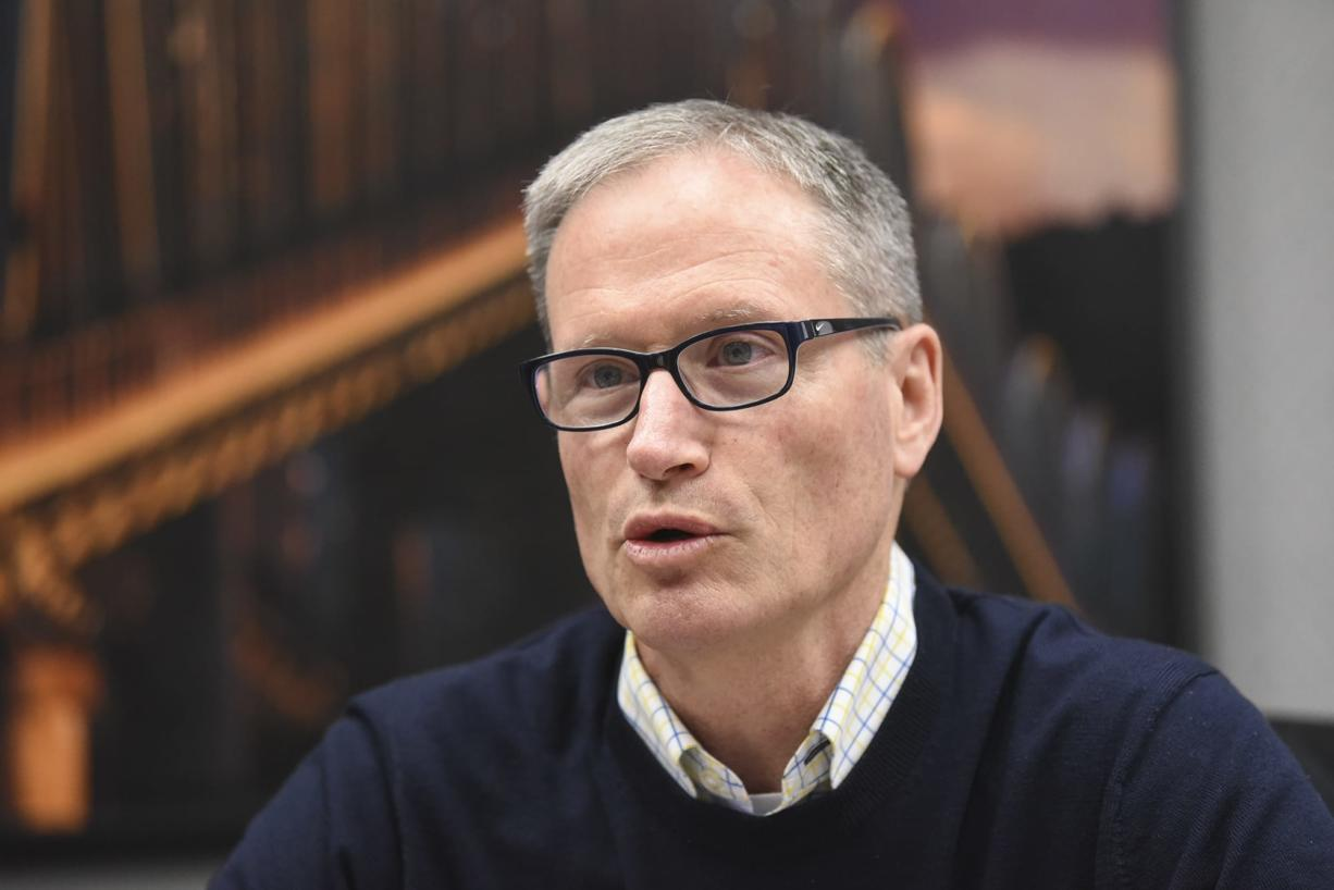 Oregon Department of Transportation Commissioner Sean O'Hollaren discusses the state's plan for tolling Interstate 5 and Interstate 205 with The Columbian Editorial Board in late February.