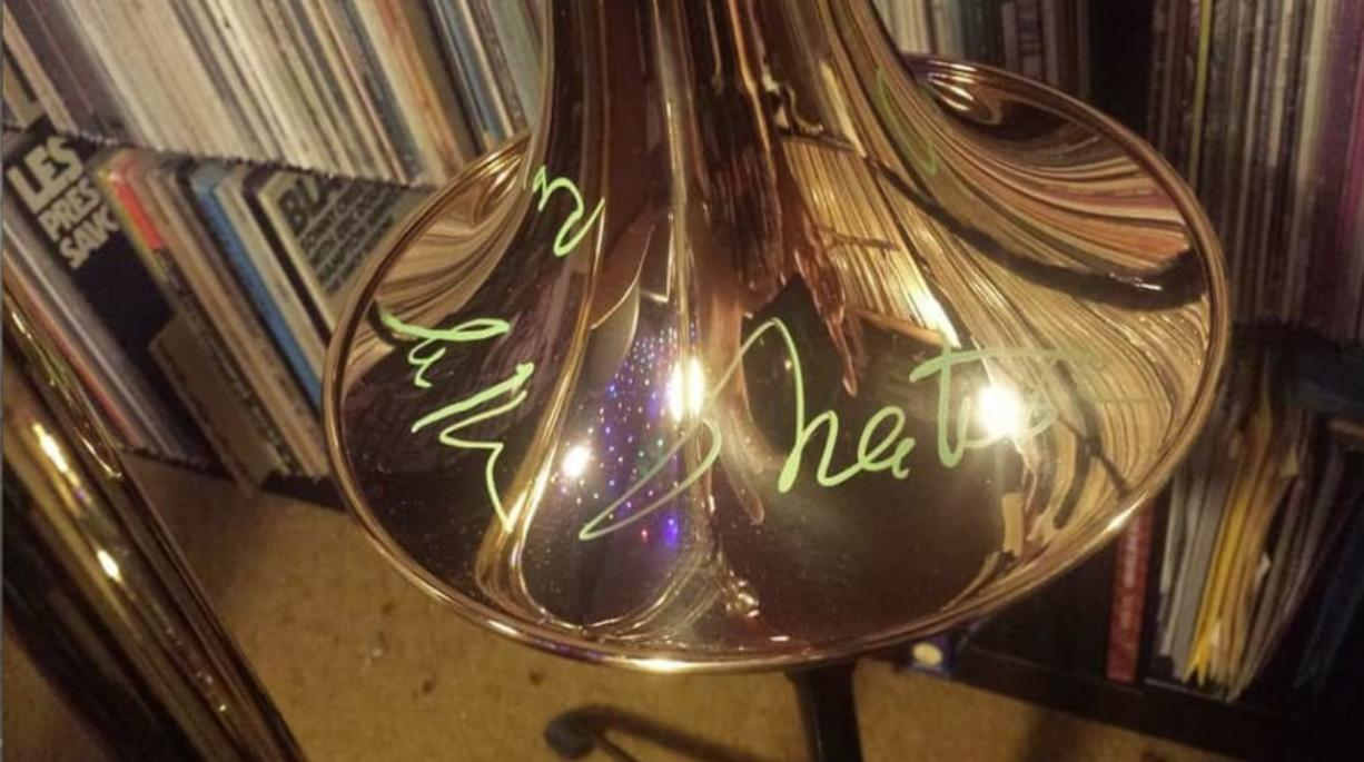 """Greg Scholl, principal trombonist of the Vancouver Symphony, had his trombone autographed by actor William Shatner, the original Capt. Kirk of """"Star Trek"""" fame."""