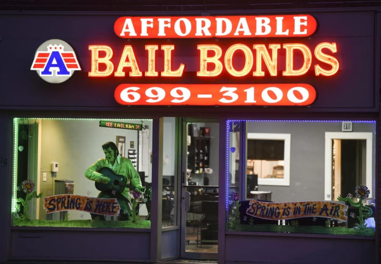 A Affordable Bail Bonds near Clark County Superior Court is pictured Tuesday evening, April 10, 2018.