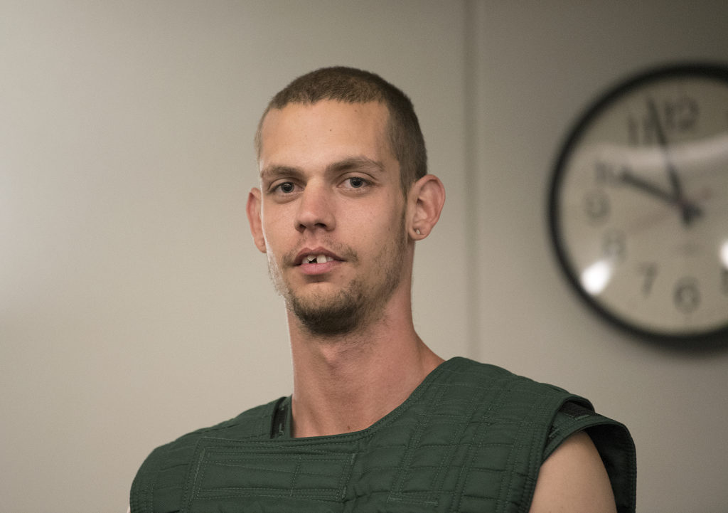 Zakary French, 24, makes a first appearance in Clark County Superior Court on April 12, 2018.