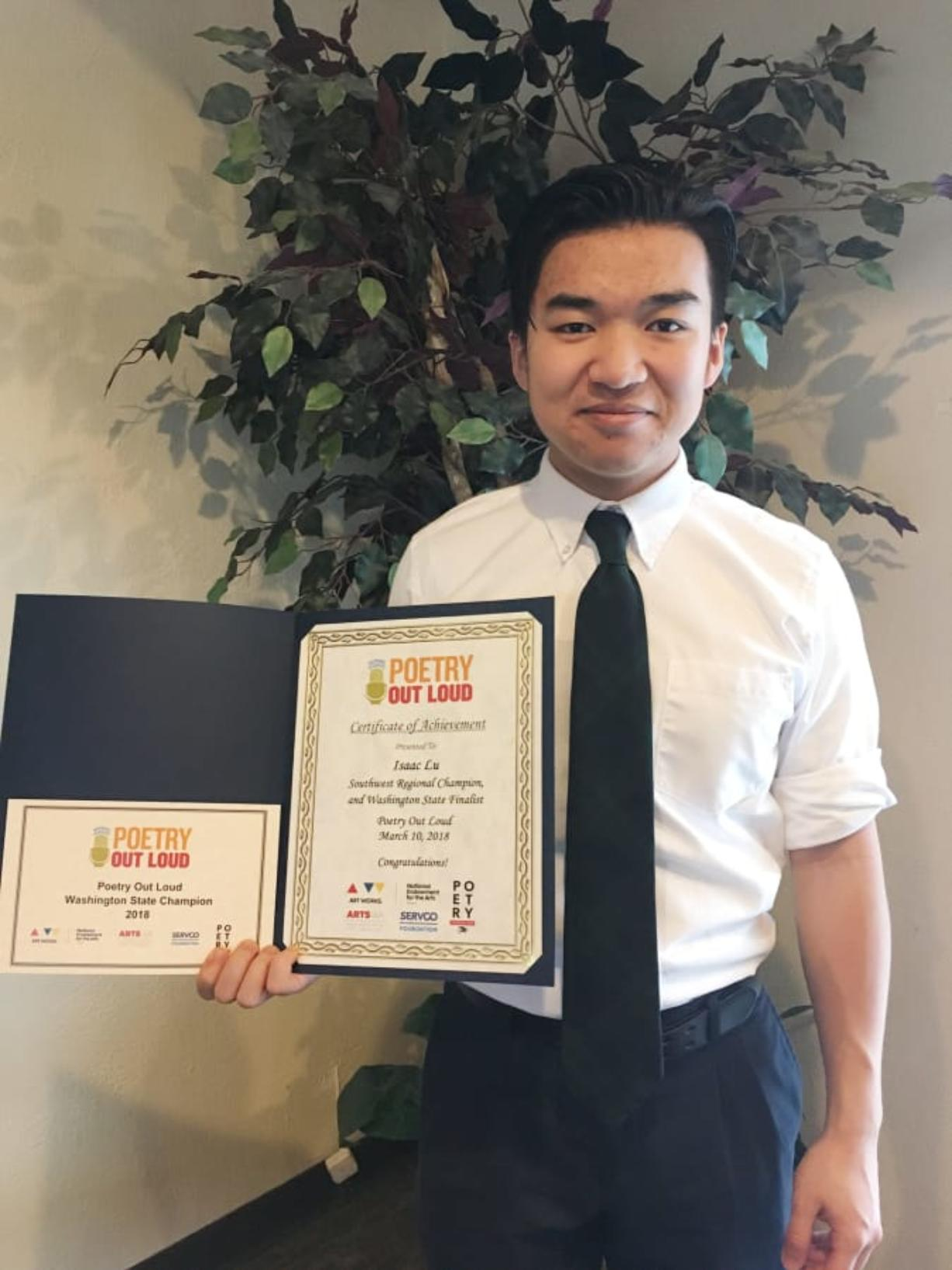Ridgefield: Cedar Tree Classical Christian School senior Isaac Lu was named Washington state's Poetry Out Loud winner, earning him a spot in the national finals in Washington, D.C.