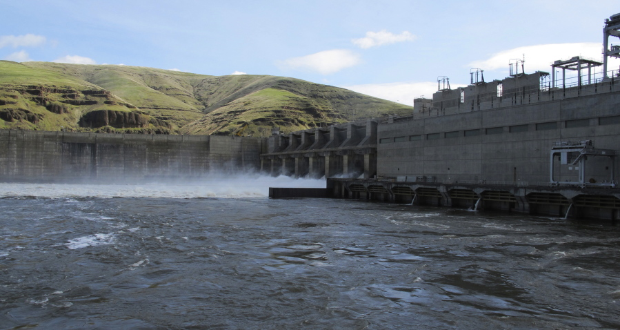Water moves through a spillway of the Lower Granite Dam on the Snake River near Almota.  (AP Photo/Nicholas K. Geranios)
