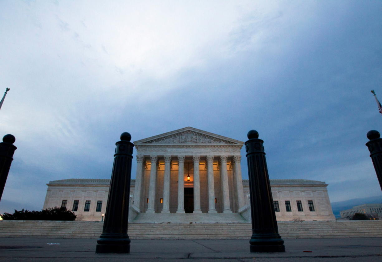 The Supreme Court is seen in the morning in Washington. The Supreme Court has so far had little to say about Donald Trump's time as president. That's about to change. The justices' first deep dive into a Trump administration policy comes in a dispute over the administration's ban on travel from some countries with majority Muslim populations.