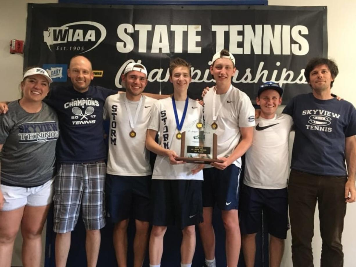 The Skyview boys tennis team won back-to-back state titles with Andrew Kabacy, center, winning a second consecutive 4A singles title on Saturday, May 26, 2018.
