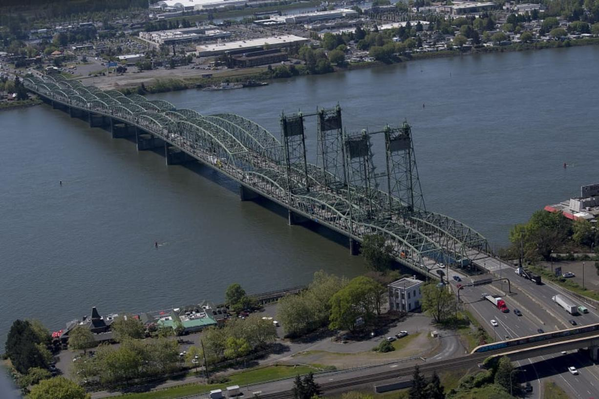 The Interstate 5 Bridge sprawls across the Columbia River as it links Portland and Vancouver.
