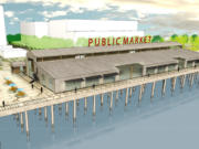 Renderings of the public marketplace at Terminal 1, the Port of Vancouver's 10-acre mixed-use development near the former Red Lion Hotel Vancouver at the Quay.
