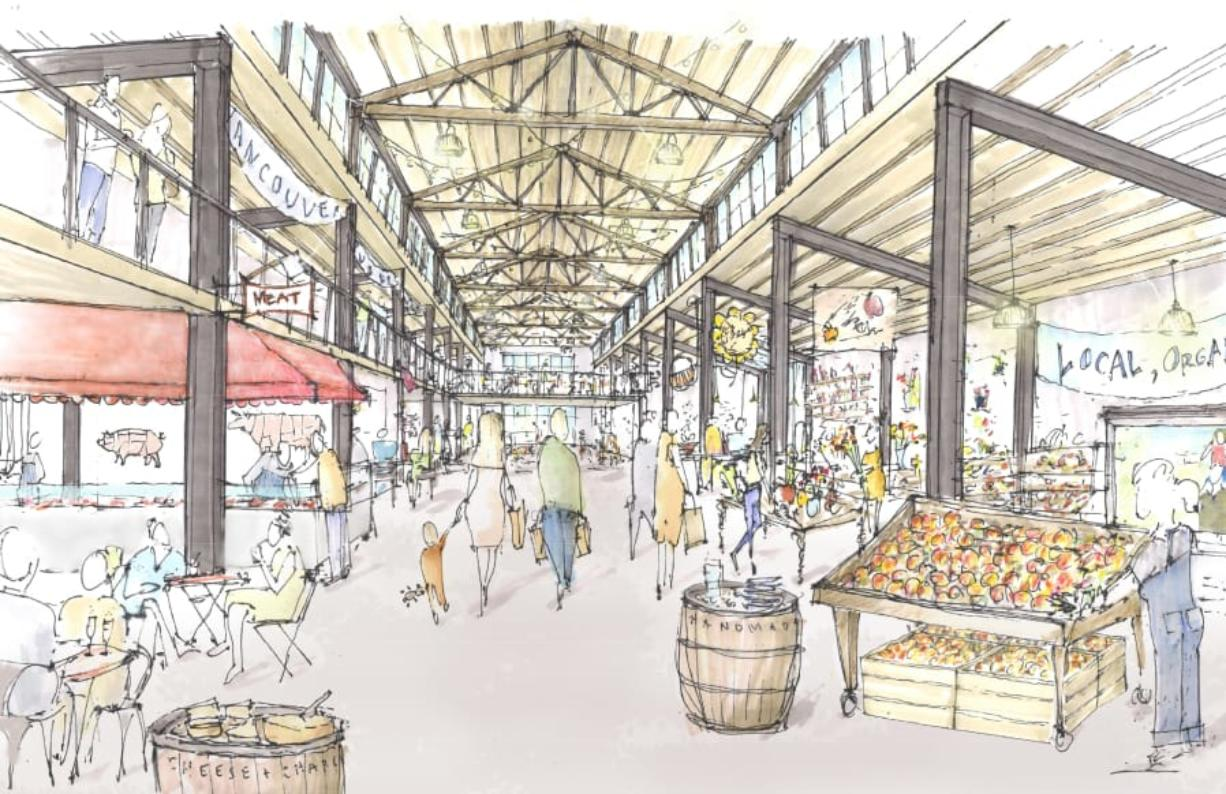 A rendering of the marketplace at Terminal 1 shows the interior of the proposed project.