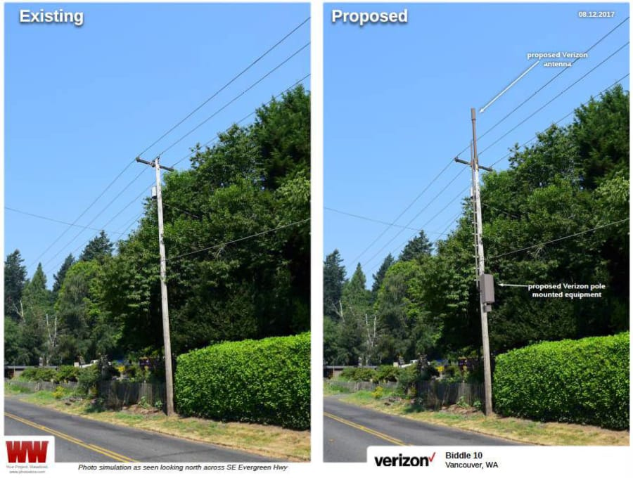 A Pole On Southeast Evergreen Highway Is Shown As An Example Of What Verizon Wireless