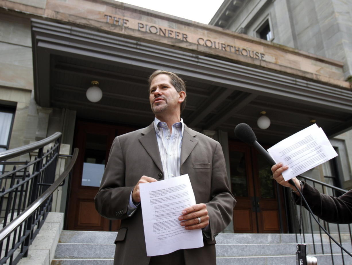 In this Sept. 19, 2012, file photo, Knute Buehler, speaks during a news conference in Portland, Ore. Front runners have emerged in a packed race to be the Republican nominee for Oregon governor, with the candidates differing sharply on climate change, gun control, and the state's sanctuary status.