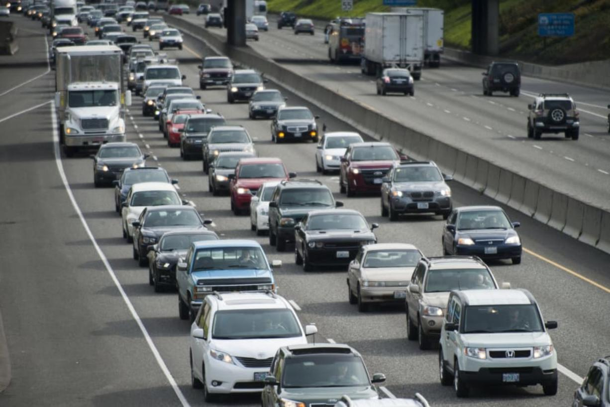 Traffic heads north on I-5 in Portland in April 2015.