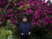 Vanessa Gardner Nagel stands in front of a large rhododendron at her home in Vancouver. Nagel, a garden designer, said the majority of her clients are interested in either removing their lawns or having much less lawn at their homes. However, she said homeowners associations and housing developers still haven't latched onto the trend.